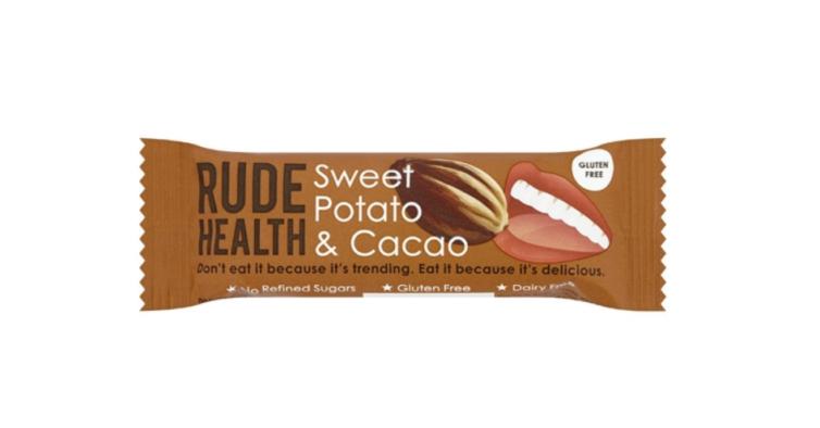 Barras de batata doce e cacau sem glúten, Rude Health (0,89€)