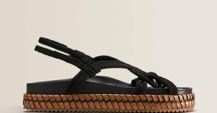 Sandália corda e pele (49,99€)