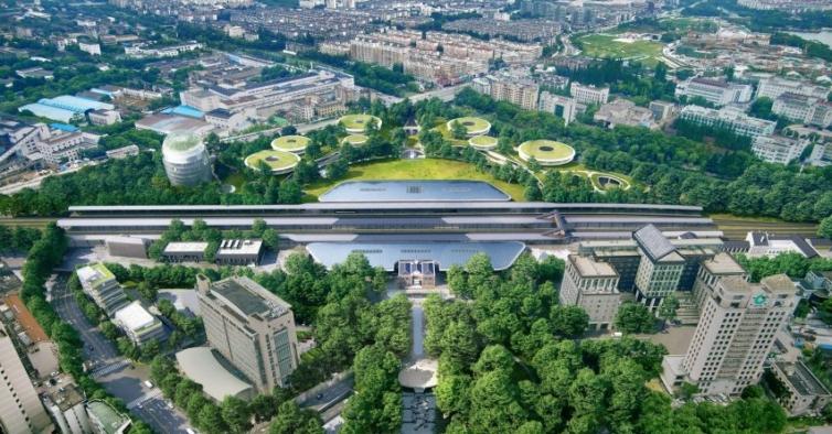 É assim a estação ferroviária do futuro: metade terminal, metade jardim