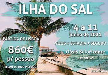 Lisboa-Ilha do Sal por apenas 860€ (em hotel tudo incluído e com vista para a praia)