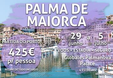 Temos uma semana em Palma de Maiorca por 425€ com tudo incluído