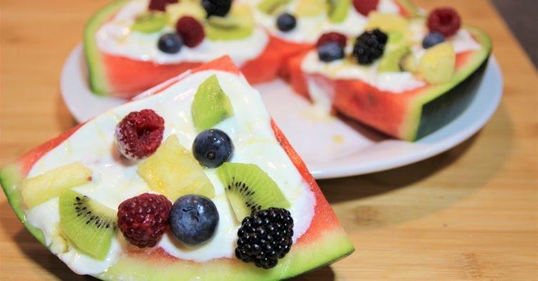 Pizza saudável de melancia