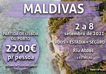 Temos 7 noites nas Maldivas numa ilha privada com tudo incluído por 2200€