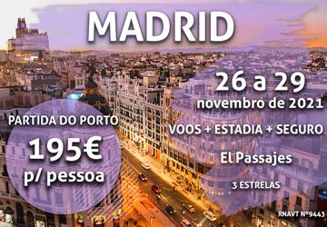 Temos mais uma escapadinha para Madrid por 195€ (com voo e hotel)