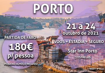 Temos um pacote especial para o Porto só por 180€ (com voo de Faro e hotel)